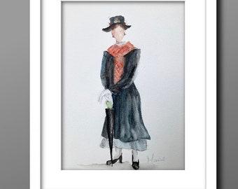 WHIMSICAL watercolour painting, watercolour art, MARY POPPINS, original art, art illustration