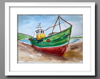 BOAT WATERCOLOUR PAINTING , watercolour art, original painting, original art, Scottish art A4