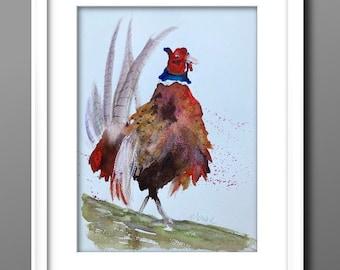 PHEASANT WATERCOLOUR PAINTING , watercolour art, original painting, original art, Scottish art A4