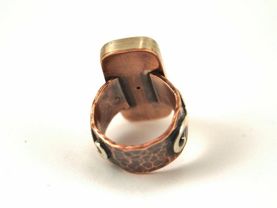 Rustic Ring Handmade with Hand Painted Black Pottery Shards Ceramic with Copper and Silver Mata Ortiz Jewelry Reticulated Silver