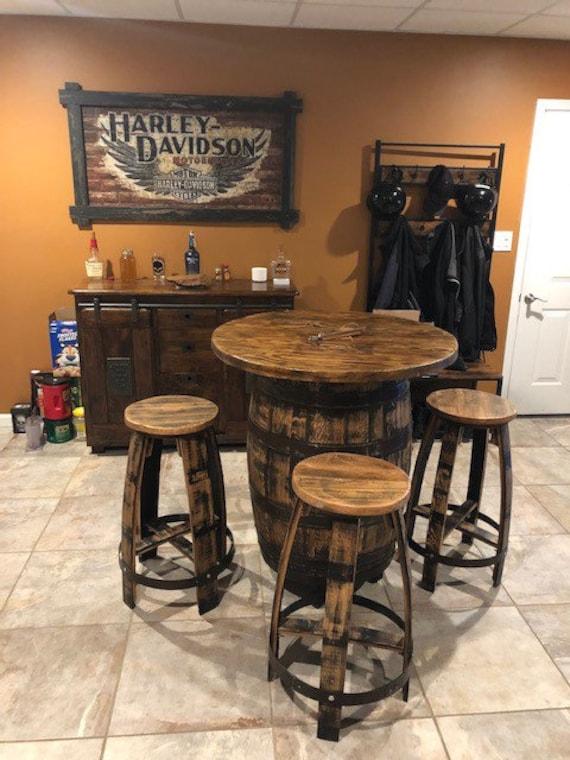 Bourbon Barrel Pub Table Set, Bourbon Barrel Furniture