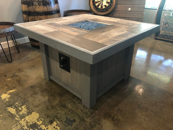 Square Rustic Coffee Table Fire Pit Etsy