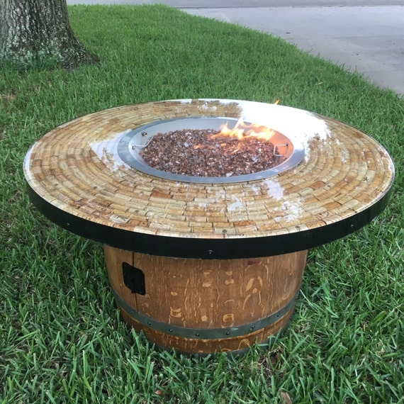 image 0 - Round Cofffee Table Height Wine Barrel Fire Pit Etsy