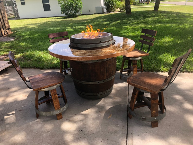 Wine Barrel Patio Table Fire Pit With Chairs Etsy