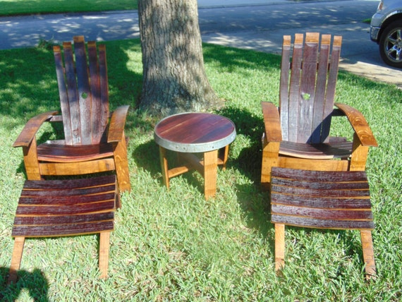 5 Piece Adirondack Chair Set Made From Reclaimed Wine Barrels