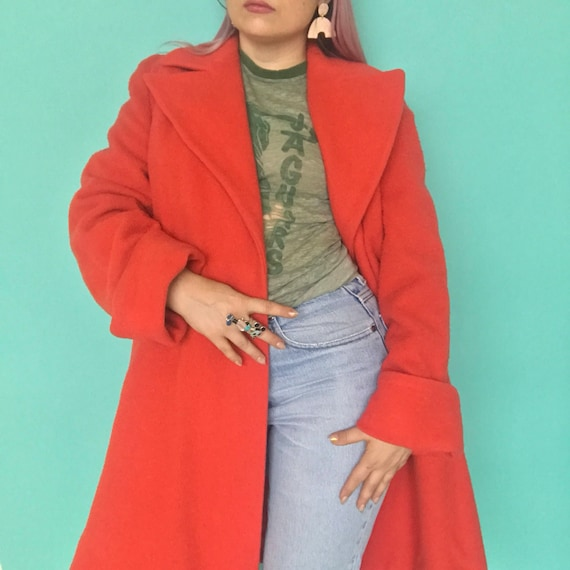 1940s Coat / 40s Coral Wool Swing Coat