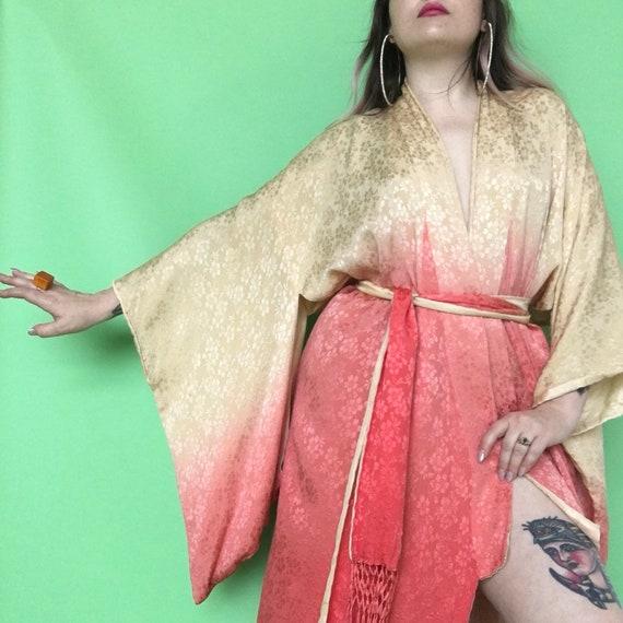 1930s Ombre Kimono   20s 30s Silk Robe   1920s Pink Dressing  3c9b31aa0