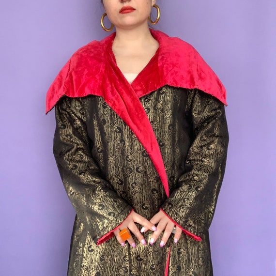 1920s Coat / 20s Lamé and Velvet Evening Coat / 19