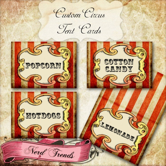8 Custom Circus Food Tents Carnival Party Food Cards Printable