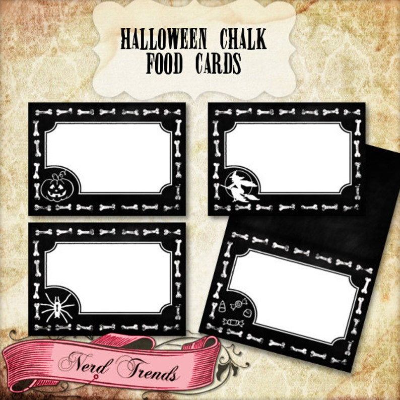 Halloween Chalk Food Cards Halloween Food Tents Printable Halloween Place holders INSTANT DOWNLOAD! Party Labels