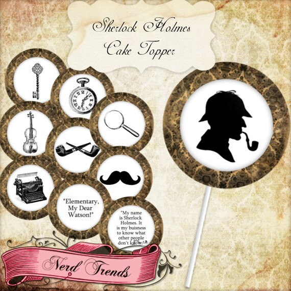 Sherlock Holmes Cake Toppers Printable Party Toppers