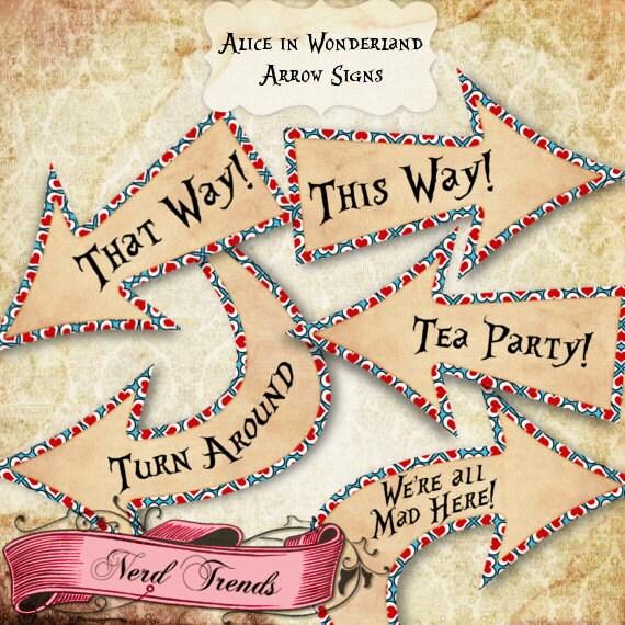 Alice In Wonderland Party Signs Wonderland Arrow Signs Alice
