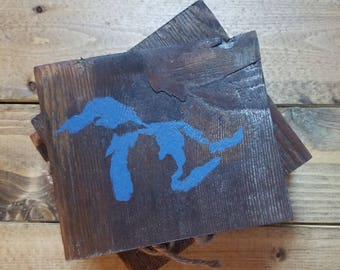 Reclaimed Wood MICHIGAN Coasters (set of 4) *Upcycled *Rustic