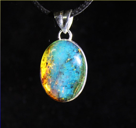 Dominican Natural Translucent Deep Blue Amber .925 Sterling Silver Oval Pendant 1.3inch