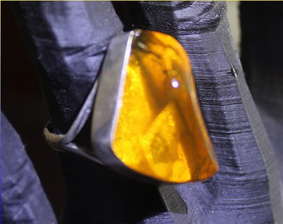 Hugh Faceted Dominican Natural Clear Orange Amber .925 Sterling Silver Ring #6.5