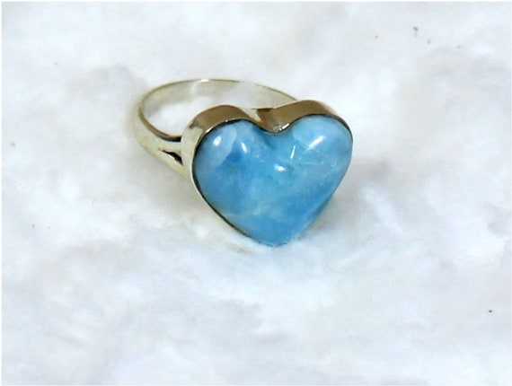 Exquisite Natural Sky Blue Larimar .925 Sterling Silver Heart Ring #7.5