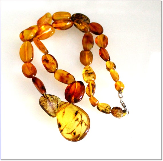 Dominican Natural Clear Orange Green Amber .925 Sterling Silver Necklace 17.5 inch