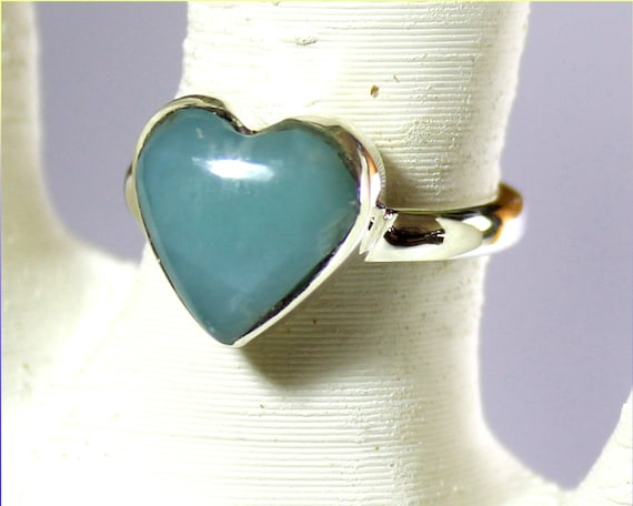 Excellent Natural Ocean Blue Larimar .925 Sterling Silver Heart Ring #5.5