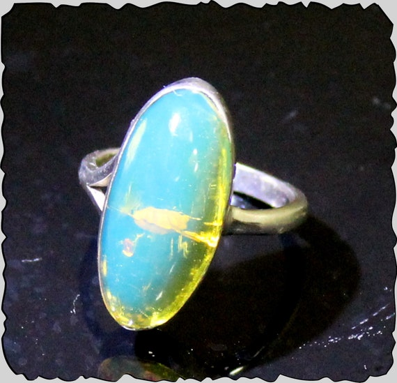 Impressive Natural Clear Sky Blue Amber .925 Sterling Silver Ring #6.5