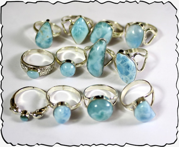 Wholesale Liquidation lot 12 Sky Blue Genuine Larimar .925 Sterling Silver Rings 45 grams