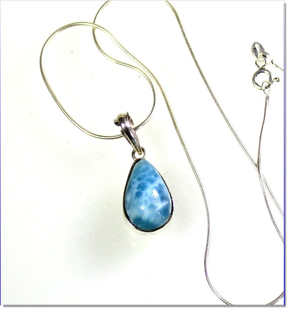 Volcanic Blue AAA++  Larimar .925 Solid Sterling Silver Necklace free snake chain