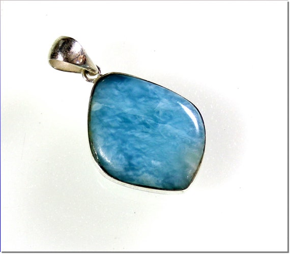 Splendid Natural Sky Blue Larimar .925 Sterling Silver Pendant 37mm
