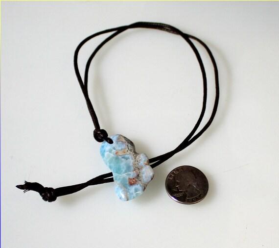 Rarest Natural Ocean Blue Larimar Carving Leather Necklace 1.7 inch