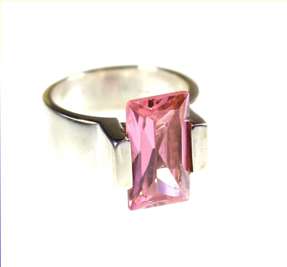 Beautiful Pink Tourmaline .925 Sterling Silver Ring #8.5