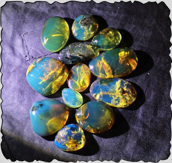 Wholesale liquidation lot, 12 Dominican Clear Blue Green Amber polished Cabochon biggest  24mm