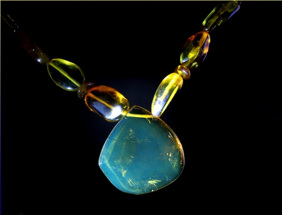 Dominican Natural Clear Sky Blue Amber .925 Sterling Silver Necklace 18inch