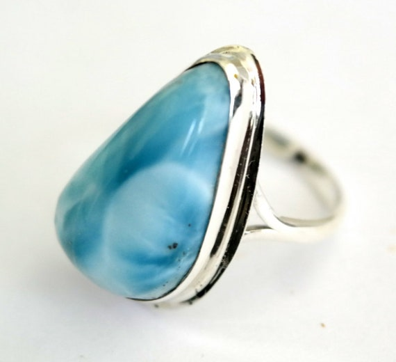 Outstanding Sky Blue Larimar .925 Sterling Silver Ring #8