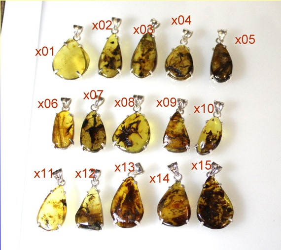 Exquisite Dominican Natural Blue Green Amber Solid Sterling 925 Silver Pendants