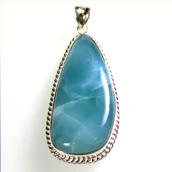 Impressive 2.6inch Natural Volcanic Blue AAA++ Larimar .925 Sterling Silver Pendant 66mm