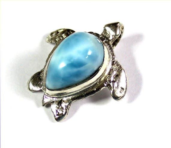 Excellent Natural Sky Blue Larimar .925 Sterling Silver Turtle Pendant 1 inch