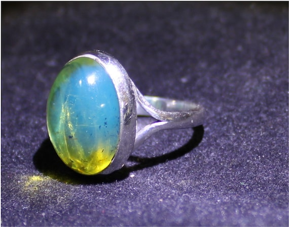 Dominican Natural Clear Sky Blue Green Amber .925 Sterling Silver Ring #7.5