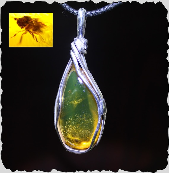 Biggest 2.1inch Dominican Natural Clear Green Flying Insect Fossil Amber .925 Sterling Silver Pendant