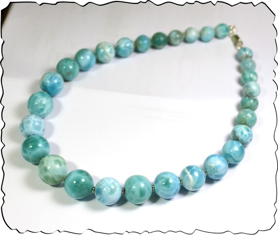 Exquisite Natural Sky Blue Larimar Round Bead (12-18mm) .925 Sterling Silver Necklace 18.5inch