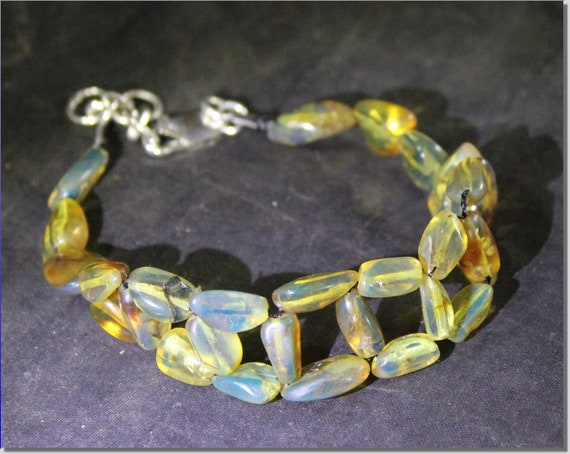 Dominican Natural Clear Sky Blue Amber .925 Sterling Silver Bracelet 7.6inch +ext.