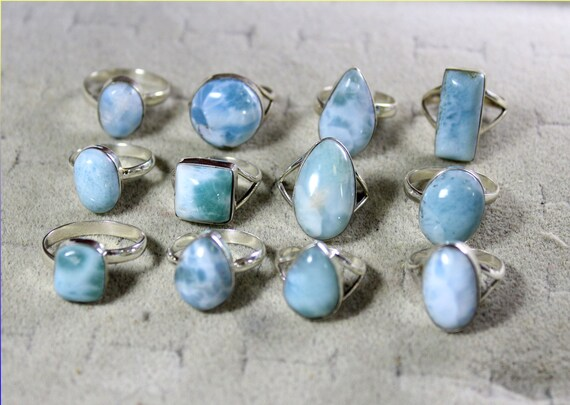 Wholesale Liquidation Lot Genuine Natural 12 Larimar Sterling Silver Rings