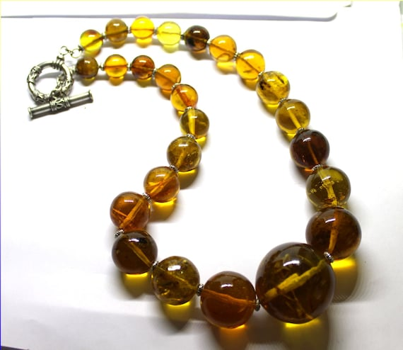 Exquisite Natural Clear Orange Green Amber Round Bead Sphere Necklace, biggest bead diameter 1.3inch