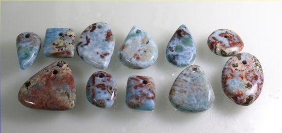 Wholesale Lot 11 Sky Blue Red Larimar Cabochons Pendant Stones 150g biggest stone 50mm