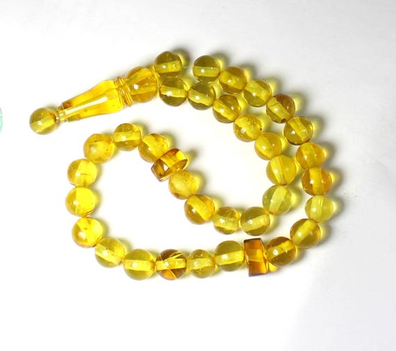 Dominican Clear Yellow Green Amber Misbaha,worry Beads Islamic Prayer Beads Komboli 8mm C-86-1756