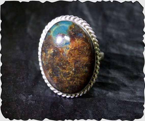 Dominican 1.1inch Natural Translucent Sky Blue Butterscotch Amber .925 Sterling Silver Ring #8.5
