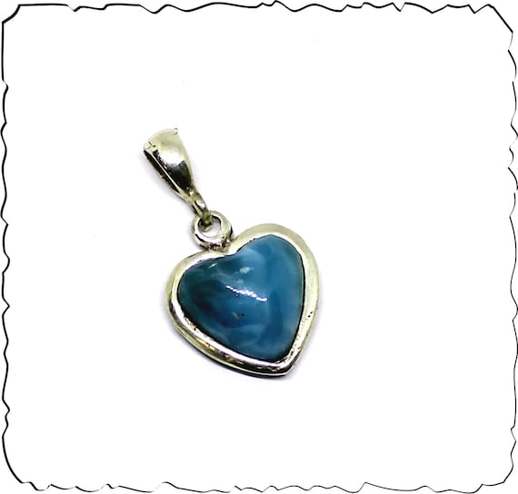 Premium Exquisite Natural Volcanic Blue AAA++ Larimar .925 Sterling Silver Heart Pendant 1.2 inch