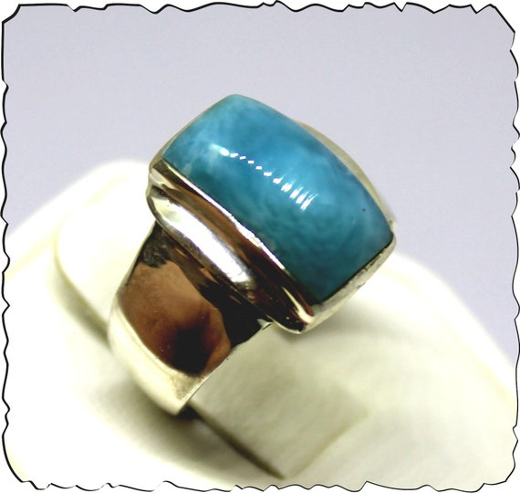 Exquisite Natural Deep Blue AAA++ Larimar .925 Sterling Silver Ring #7 for men unisex