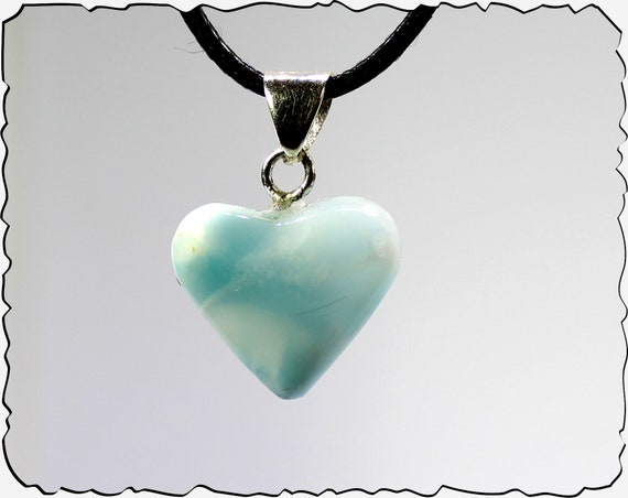 Beautiful Natural Light Blue Larimar .925 Sterling Silver Heart Pendant 1.1inch