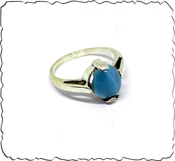 Impressive Natural Volcanic Blue AAA++ Larimar .925 Sterling Silver Ring #7 free resizing