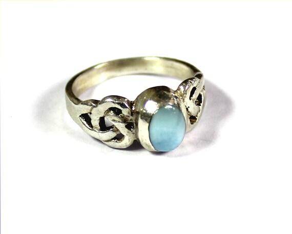 Lovely Celtic Natural Light Blue Larimar .925 Sterling Silver Ring #4.5 free resizing