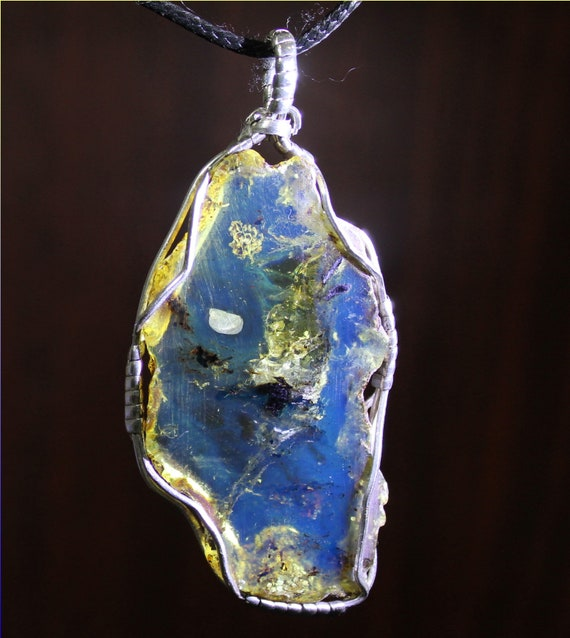 Handcrafted Giant 2.9inch Dominican Natural Clear Sky Blue Amber .925 Sterling Silver Pendant