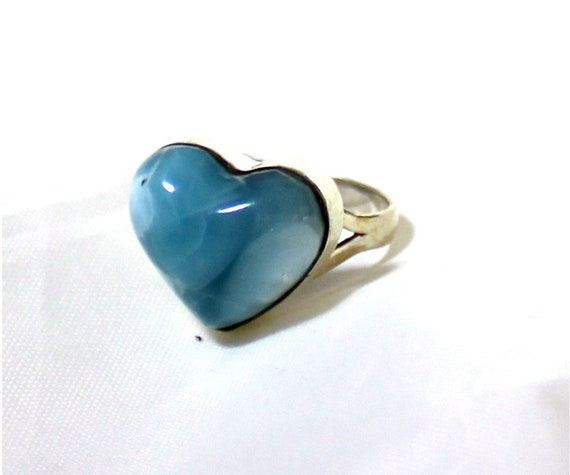 Exquisite Natural Volcanic Blue Larimar .925 Sterling Silver Heart Ring #7